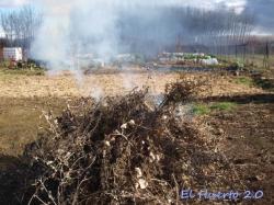 Humo con la quema de la materia verde