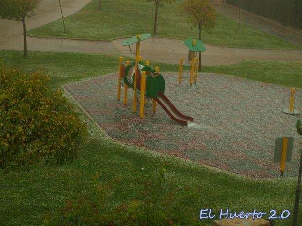 Granizo en el parque de Benavente