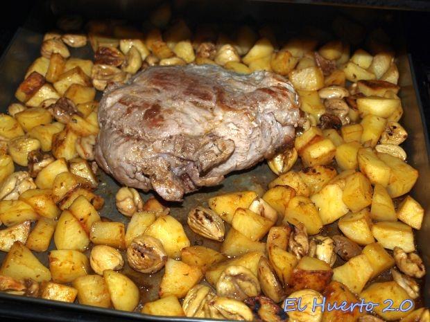 Carne en el horno con Castañas y patatas